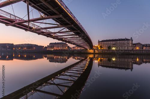 Bernatka footbridge over Vistula river in Krakow in the night