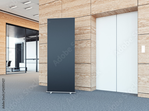 Blank Roll Up Bunner In Modern Office Lobby. 3d Rendering