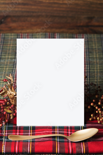 Poster Christmas vertical menu, on fabric red checkered