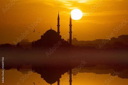 Red glowing sunset in Istanbul, Turkey Poster