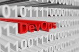 DevOps as a binary code with blurred background 3D illustration