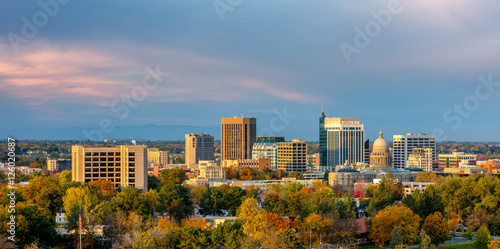 Beautiful little town of Boise Skyline in fall