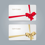 White gift card with red, golden bow and ribbons. Vector template for design invitation and credit or discount card. Isolated from a background. - 126025079