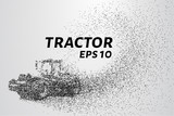 Tractor of the particles. The tractor consists of small dots and circles. Vector illustration