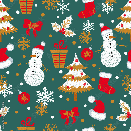 Cotton fabric Christmas and New Year seamless pattern with doodle snowmen, fir trees, gifts and snowflakes. Vector holiday background.
