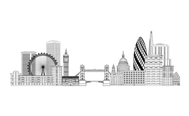 London city skyline. London cityscape with famous landmarks and building