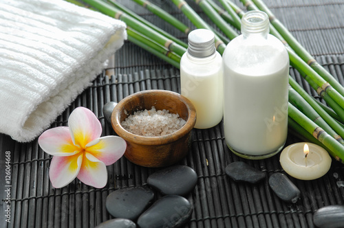 Spa setting on bamboo mat