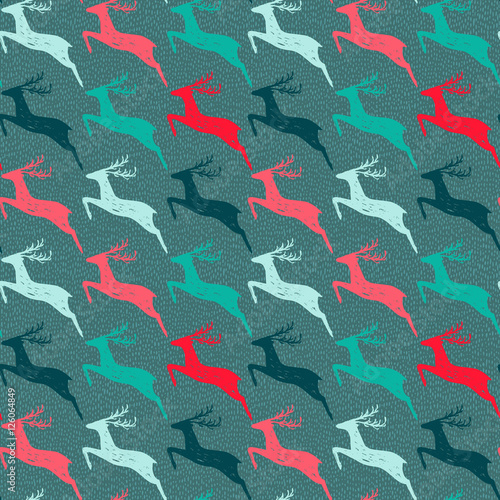 Materiał do szycia Seamless pattern with hand drawn deers.