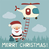 Merry Christmas! Funny Santa Claus flying on helicopter with gift bag.