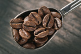 group of coffee beans on a spoon