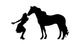 Vector silhouette of woman with horse.