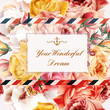Invitation with vector realistic pink and beige roses for design