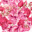 Rose pattern with vector realistic pink roses for design