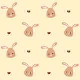 cute cartoon rabbit seamless vector pattern background illustration