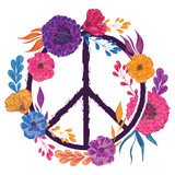 Hippie peace symbol with flowers, leaves and buds. Collection decorative floral design elements. Isolated elements. Vintage hand drawn vector illustration in watercolor style.