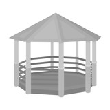 Gazebo icon in monochrome style isolated on white background. Park symbol stock vector illustration.