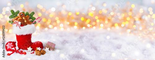 Nikolaus, Weihnachten, Banner  -  Gefüllter Nikolausstiefel im Schnee