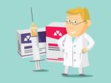 Pharmacist chemist man. Sale of vitamins and medications. Funny cartoon flat vector simple illustration. - 126108262