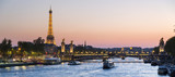 Paris, traffic on the Seine river at sunset, with Eiffel tower i © s4svisuals