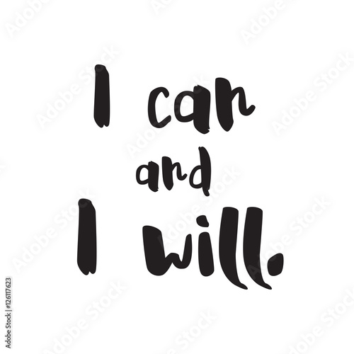 Billede I can and i will vector Lettering