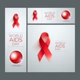 World AIDS Day Ribbon Banner Set