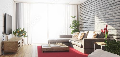 Soggiorno con divano e televisore luminoso con vista render | Buy ...