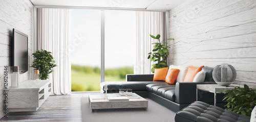 Salotto con finestra enorme e luminoso con vista su giardino render 3d