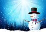 christmas greeting snowman on blue background