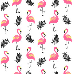 Beautiful seamless pattern with pink flamingo