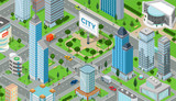 Fototapety Flat isometric city road model vector. 3d buildings architecture