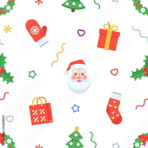 Cotton fabric Seamless flat Christmas pattern of traditional decoration elements