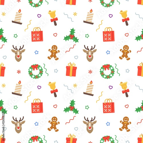Materiał do szycia Seamless flat Christmas pattern of traditional decoration elements