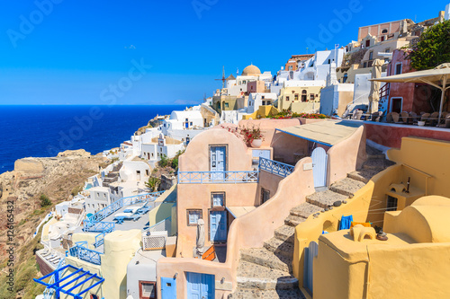 Foto op Canvas Colorful houses in Oia village on Santorini island, Greece
