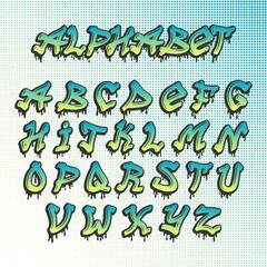 Graffity grunge font vector alphabet