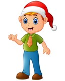 Cartoon Christmas Elf waving hands