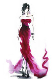 woman with elegant dress .abstract watercolor .fashion background - 126194665