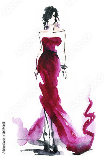 Fotobehang Anna I. woman with elegant dress .abstract watercolor .fashion background