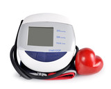 Digital blood pressure monitor with heart isolated on white background