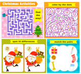 set of Christmas themed puzzle games for kids
