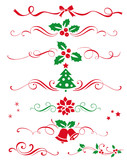 Fototapety Winter set of decorative calligraphic elements, dividers and  new year ornaments for page decor. Vector christmas decorations.
