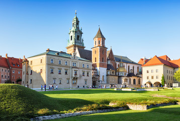 Krakow castle Wawel at sunset