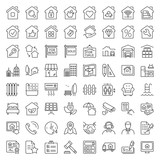 real estate thi line icons - 126219626
