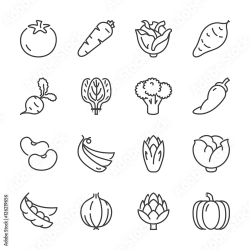 vegetables line icons 2