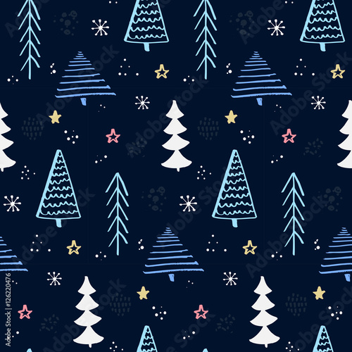 Materiał do szycia Winter forest pattern with hand drawn christmas tree. Blue night sky with stars and snowflakes. Vector background for wrapping paper and christmas designs.