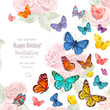 invitation card with lovely flying butterflies. watercolor paint