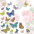 invitation card with cute flying butterflies. watercolor paintin