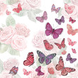 romantic invitation card with cute flying butterflies. watercolo