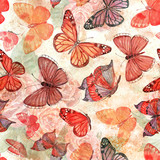 shabby chic seamless texture with flying butterflies. watercolor