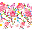 fancy seamless border with roses and butterflies. watercolor pai
