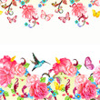 invitation card with horizontal seamless floral borders. waterco